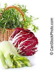 Beautiful vegetables. - Radicchio, fennel and basket of...
