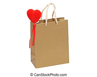 Golden gift bag with red heart.