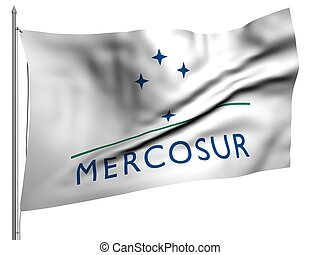 Flying Flag of Mercosur Trade Union | All Flags Collection |