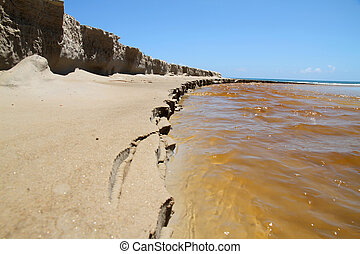 Water flowing into the Ocean - A River flowing into the...