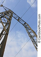 Power line tower - Detailed view of a power line tower on a...