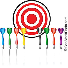 Set of red target and colorful darts