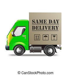 same day delivery truck with cardboard box package isolated...