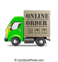 online order internet shop package delivery by truck in...