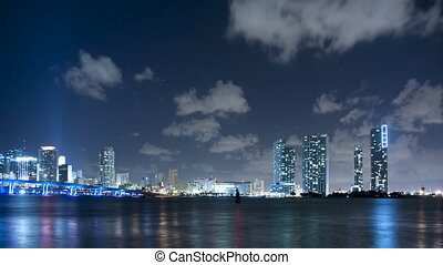 Time lapse Miami skyline at night - Time lapse of Miami...