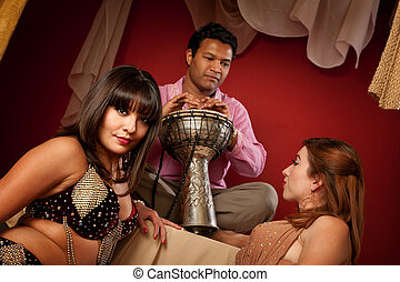 Beautiful Belly Dancers with Tabla Player - Two beautiful...