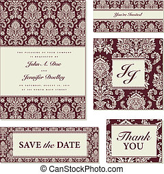 Vector Burgundy Damask Frame Set Easy to edit Seamless...