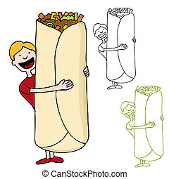 Man Holding Giant Burrito - An image of a man about to eat a...