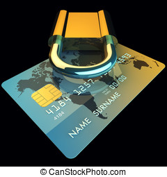 Credit card and padlock , 3d illustration