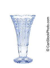 Antique vase - cut glass isolated on white background