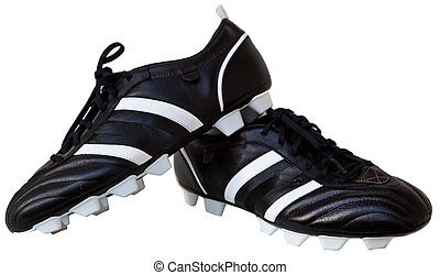 Soccer Shoes - Pair Black leather soccer shoes isolated on...