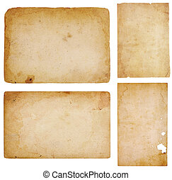 Four Vintage Paper Scraps - Set of four aged, worn and...