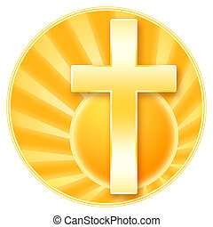 Christianity - Christian cross and rising sun shining...
