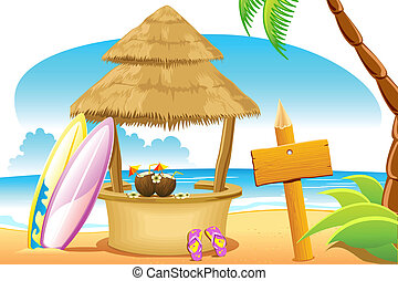 Straw Hut and Surfing Board in Beach - illustration of straw...