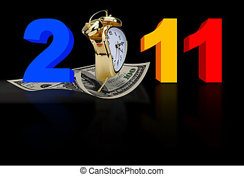 2011 with clock and money