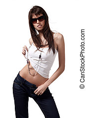 Sexy babe - Sexy brunette woman in jeans and sunglasses...