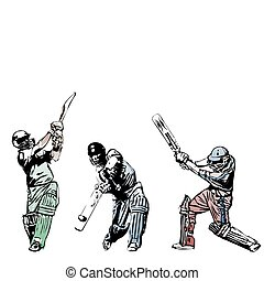 Cricket trio  - illustration of three cricket players