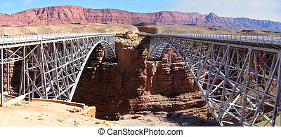 Navajo Bridges - Old and new Navajo Bridges across Marble...