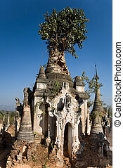Overgrown pagoda ruins of Indein, Burma, Myanmar also called...