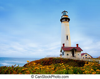 Lighthouse - Pigeon Point Lighthouse along Pacifice...