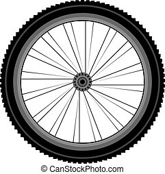 detailed Front wheel of a mountain bike - Front wheel of a...