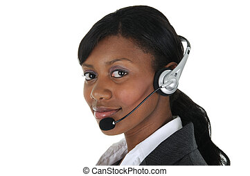 Attractive Business Woman with Headset 09 - A attractive...