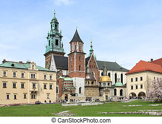 Krakow, Poland - famous Wawel Cathedral with gold roofed...