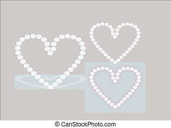 heart of pearls - vector illustration of pearls in heart...
