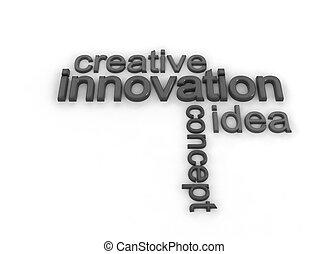 Innovation illustration  text on white background