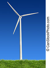 Wind Power and Grass - Single wind power standing in the...