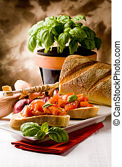 Bruschetta with ingredients - photo of delicious italian...