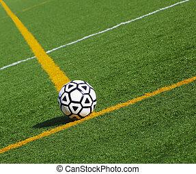 Soccerball  - Soccer ball at the field line at stadium
