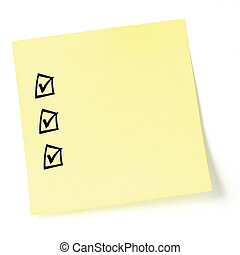 Yellow sticker checklist, black tick marks and checkboxes
