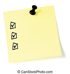 Yellow sticker checklist, black check boxes and tick marks,...