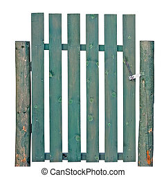 Wooden Gate, Aged Green Weathered Isolated Garden Fence...