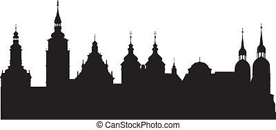 Historical city - The silhouette of the historic town of...