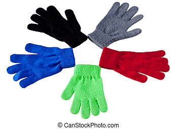 Pentagon Gloves - Five gloves in different colors isolated...