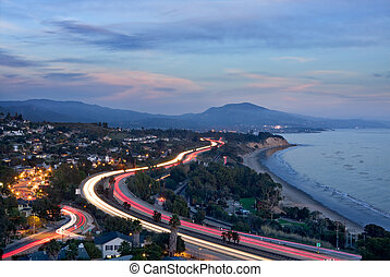 Freeway Car Lights - An overview of the 101 freeway at dusk...