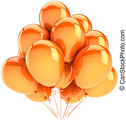 Orange helium balloons decoration - Orange balloons party...