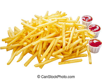 French Fry Heap - Pile of french fries and three cups of...