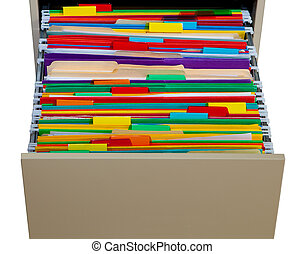 Color Folders - Color folders in the cabinet isolated on...
