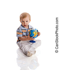 Four years boy - Two years boy with globe isolated on white