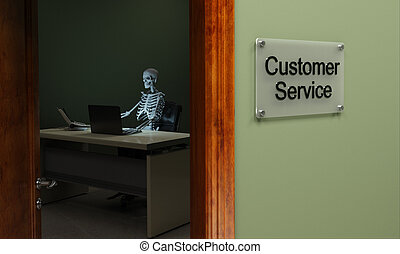 Dead customer service - Skeleton sitting at a desk, concept...