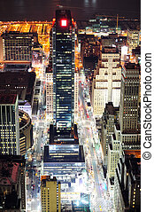 New York City Manhattan street aerial view at night