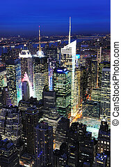 New York City Manhattan Times Square night city skyline...