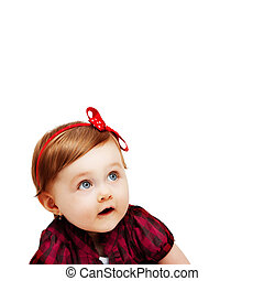 One baby girl isolated on white - One cute baby girl...