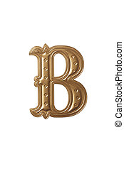 letter b - clipping path of the golden alphabet b