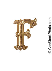 letter f - clipping path of the golden alphabet f
