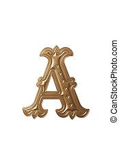 letter a - clipping path of the golden alphabet a