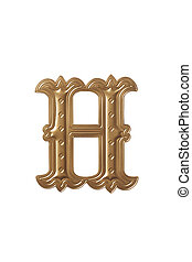 letter h - clipping path of the golden alphabet h